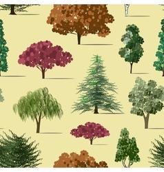 Trees sketch set pattern vector image