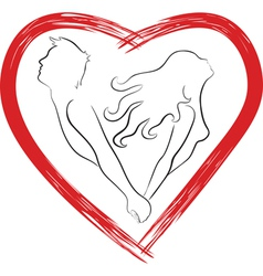 Silhouette of couple shaped heart vector image