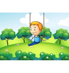 A boy exercising at the hill vector