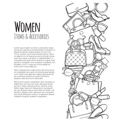 Women items and accessories web banner colourless vector