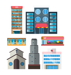 downtown skyscraper shop on shiny glass facades vector image