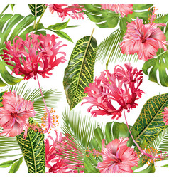 Tropical flower seamless pattern vector