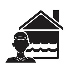 Black silhouette plumber with flooded house icon vector