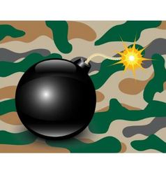 Bomb on camouflage background vector