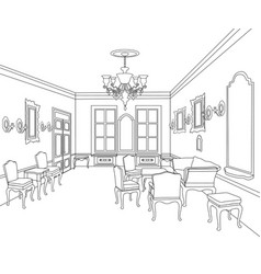 retro luxury interior sktch furniture blueprint vector image