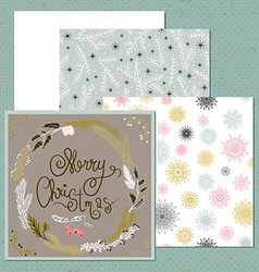 Set of Christmas card with wreath snowflakes and vector image