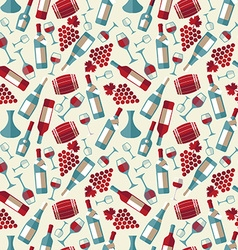 Wine seamless pattern with biootle and glass vector