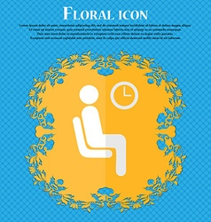 Waiting floral flat design on a blue abstract vector
