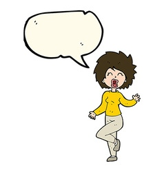 Cartoon woman dancing with speech bubble vector