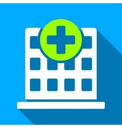 Clinic building flat long shadow square icon vector
