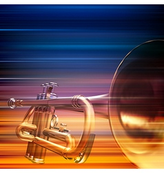 Abstract blur music background with trumpet vector