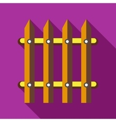 Wooden fence icon in flat style vector