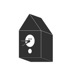 Black icon on white background bird house vector