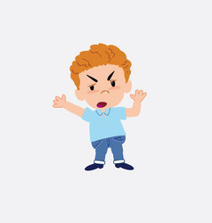 Blond boy in jeans argues something with a vector