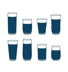 Blue water glass set vector