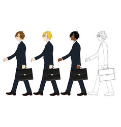 business man walking and holding briefcase vector image