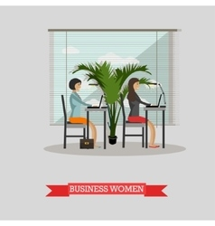 Business women work with laptops in office vector