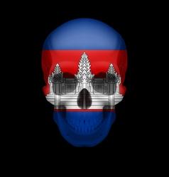 Cambodian flag skull vector