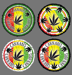Cannabis leaf silhouette design jamaican flag back vector