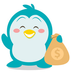 character penguin with money vector image vector image