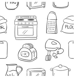 collection stock kitchen equipment doodles vector image