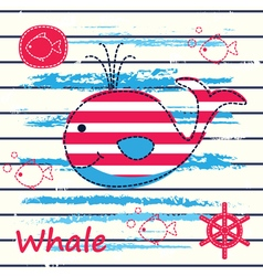 Cute background with whale vector image