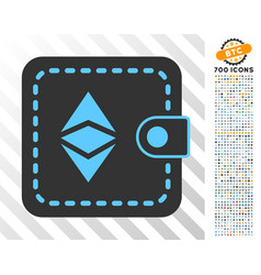 Ethereum classic wallet flat icon with bonus vector