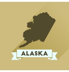 Flat icon with long shadow Alaska map vector image vector image