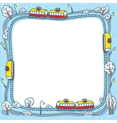 Frame with funny trams and rails vector