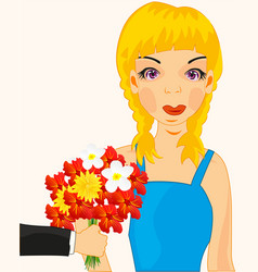 girl present flower vector image vector image