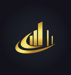Gold business finance abstract building logo vector