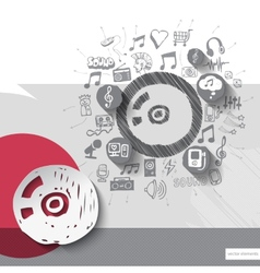 Hand drawn disc icons with icons background vector image