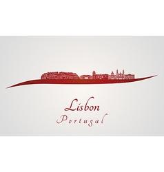 Lisbon V2 skyline in red vector image vector image