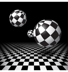 Magic balls over the checkered floor vector image