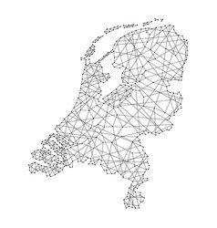 map of netherlands from polygonal black lines vector image