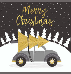 merry christmas gold card with car vector image vector image