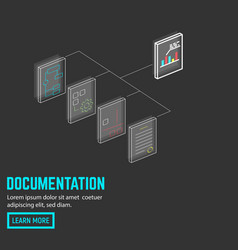 neon document connection vector image