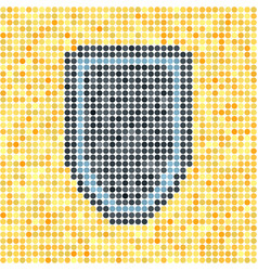 Pixelated dot shield on yellow background vector