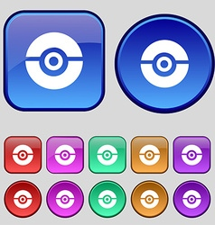 Pokeball icon sign a set of twelve vintage buttons vector