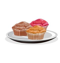 realistic cupcake vector image vector image