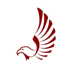 Red eagle with wings vector