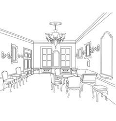 Retro luxury interior sktch furniture blueprint vector