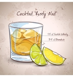 Rusty nail cocktail vector