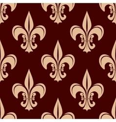 Seamless brown fleur-de-lis floral pattern vector