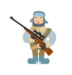 sniper with rifle vector image