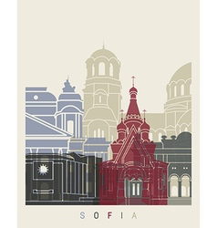 Sofia skyline poster vector