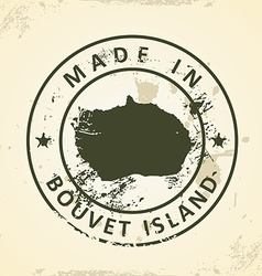 Stamp with map of bouvet island vector