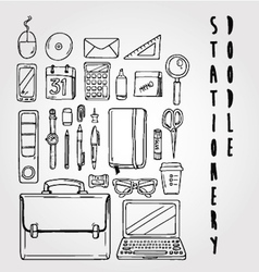 stationery doodle set collection vector image