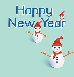 Three snowmans with happy new year on green vector image vector image