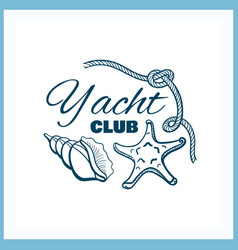 yacht club badge with seashells vector image vector image
